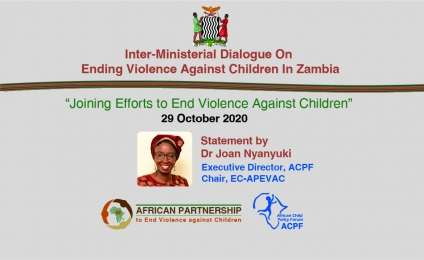 Statement by Dr Joan Nyanyuki at the Inter-Ministerial Dialogue On Ending Violence Against Children in Zambia