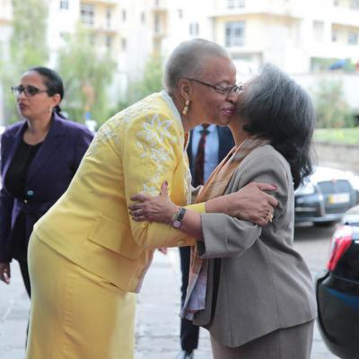 Mrs Machel Embracing President Sahle-Work